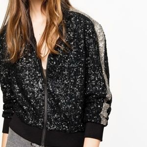Zadig & Voltaire Black & Gold Sequenced Jacket